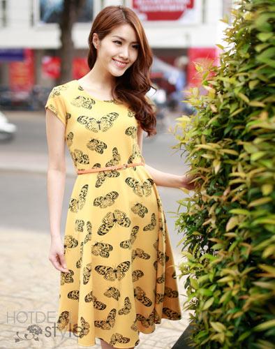 Đầm Vintage Họa Tiết Bướm
