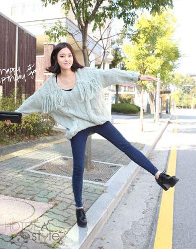 Quần Jeans Nữ Lưng Cao Hàn Quốc Kiểu Nút