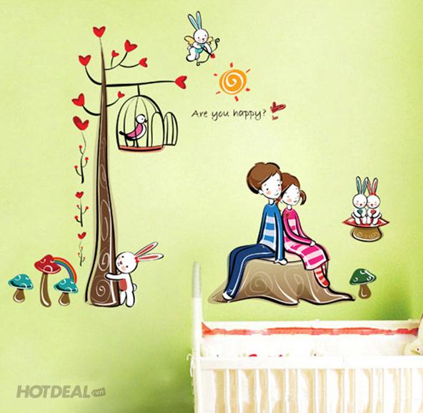Decal Dán Tường Happy Love