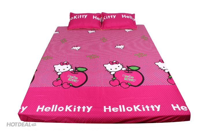 Bộ Ga Gối Cotton Nhung Hello Kitty Chấm Bi Trắng Nền Hồng