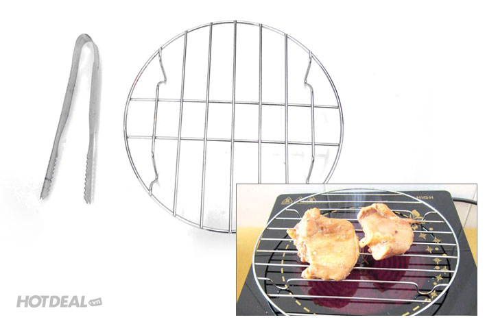 Combo Gắp Thịt Kèm Vỉ Nướng Dùng Trên Bếp Hồng Ngoại, Bếp Từ