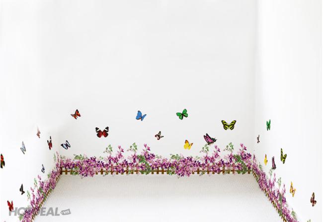 Decal Dán Tường Họa Tiết Vườn Hoa Tím