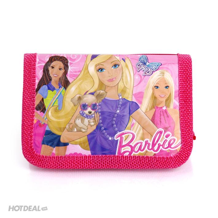 Combo Đồng Hồ Và Ví Cầm Tay Thời Trang Barbie Cho Bé