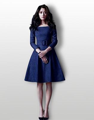 Đầm Denim Vintage Kèm Nịt