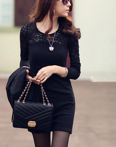 Váy Suông Dài Tay Phối Ren