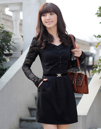 Đầm Suông Phối Ren Tay