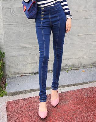 Quần Jeans Thun Lưng Cao Đính Nút