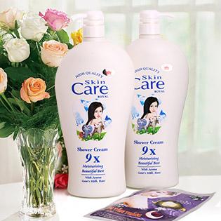 Combo 2 Sữa Tắm Dê Skin Care 9X - Tặng Kem Tắm Trắng Ngọc Trai
