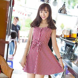 Đầm Caro 2 In 1 Xinh Xắn