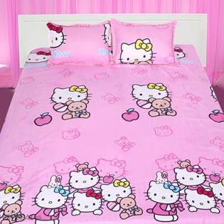 BST Drap Cotton Nhung Họa Tiết Hello Kitty