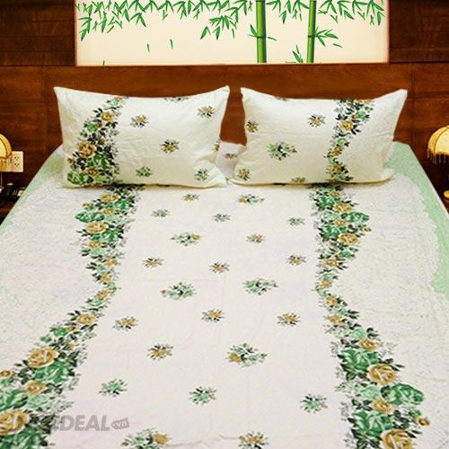 Bộ Drap Cotton Vải Thắng Lợi Họa Tiết Trang Nhã