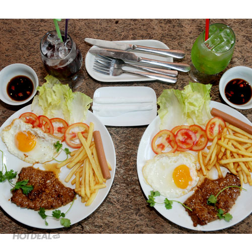 2 Bít Tết Thập Cẩm Bò Úc/ Phần Ăn Tự Chọn+2 Ly Nước Tại Cafe Bỗng Nhớ