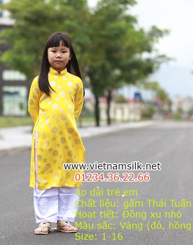 Áo Dài Truyền Thống Cho Bé Gái Gấm Thái Tuấn