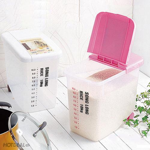 Thùng Đựng Gạo 10kg Có Bánh Xe Song Long Plastic
