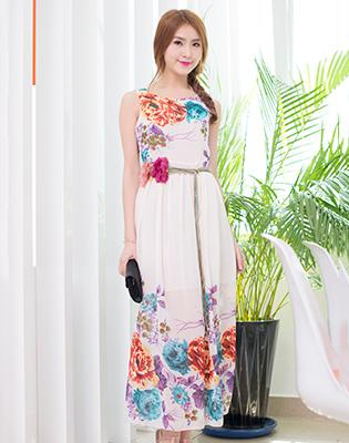 Đầm Maxi Voan Hoa Kèm Dây Nơ Eo Thanh Lịch tại Hồ Chí Minh