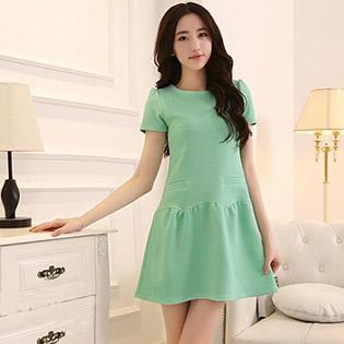 Đầm Suông Thân Váy Nhún Gợn Sóng