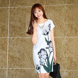 Đầm In 3D Hoa Tu Lip Cao Cấp