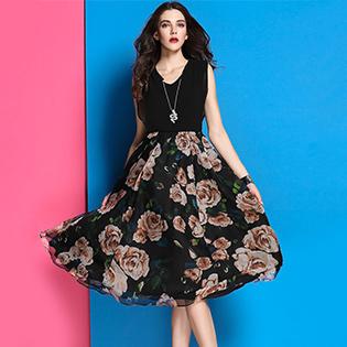 Đầm Phối Hoa Vintage