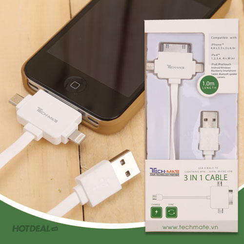 Cáp Sạc Đa Năng Cho iPad, iPhone, Smartphone, Camera TMCA03