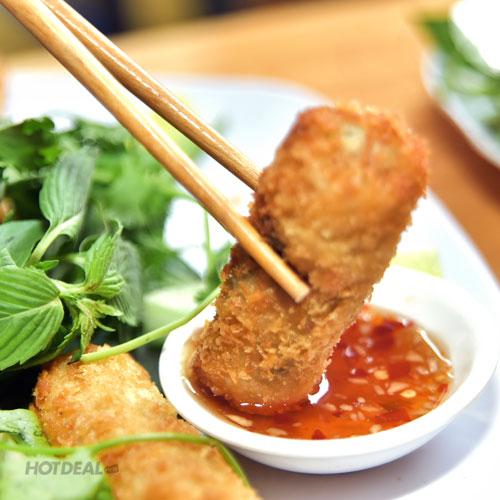 Lẩu Đầu Cá Bóp Măng Chua + 01 Tôm Nướng Muối Ớt + 01 Chả Giò Ốc