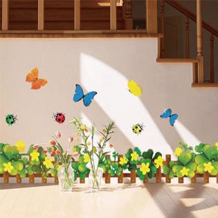 Decal Dán Tường Họa Tiết Vườn Hoa Cỏ 4 Lá