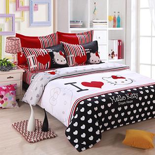 BST Drap Cotton Nhung Họa Tiết Hello Kitty 1m8 Đáng Yêu