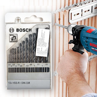 Bộ 13 Mũi Khoan Bosch HSS-R Din338