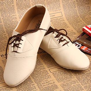 Giày Nữ Khải Nam Thời Trang Kiểu Dáng Oxford Màu Kem
