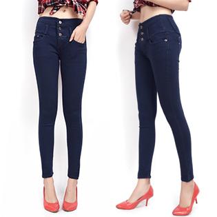 Quần Jeans Nữ Lưng Cao Đính Nút