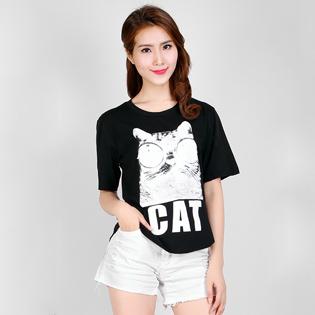 Áo Thun Nữ Toon Cat 100% Cotton - S546