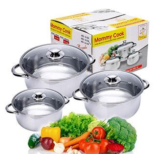 Bộ 3 Nồi Inox Cao Cấp MM06SG Nắp Kiếng Mommy Cook