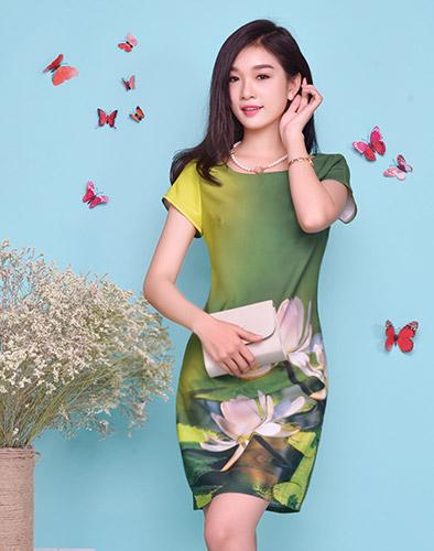 Đầm Lotus In Cao Cấp - BST Hè 2015