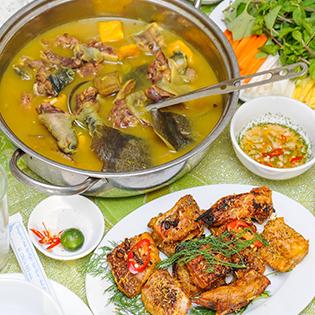 Set Baba Cắt Tiết Tại Bàn Kèm Cá Lăng Nướng Cuốn - NH Hồng Hạc