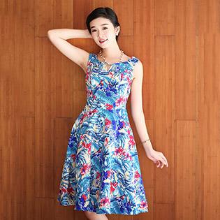 Đầm Xòe Vintage Vai Cách Điệu – BST Hè