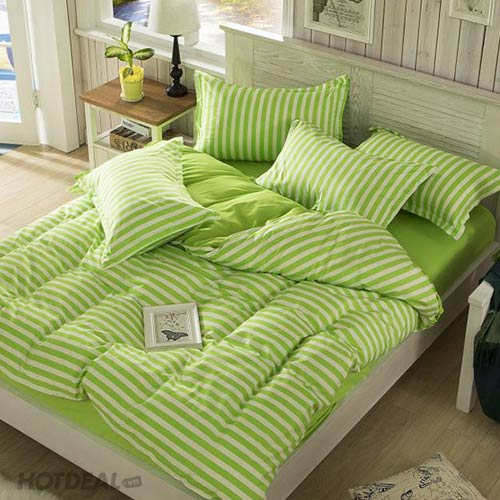 Bộ Drap Cotton Hỗn Hợp Kèm Mền Sọc Ngang Màu Xanh Neon