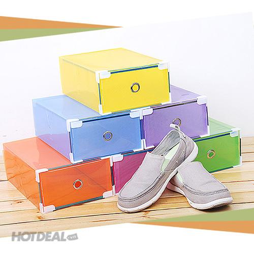 Combo 2 Hộp Đựng Giày Trong Suốt Viền Kim Loại Chắc Chắn