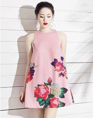 Đầm Oversize In Hoa Hồng