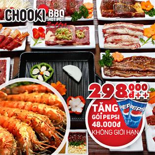Hệ Thống Chooki BBQ & Hotpot Buffet - Tặng Pepsi Uống Không Giới Hạn