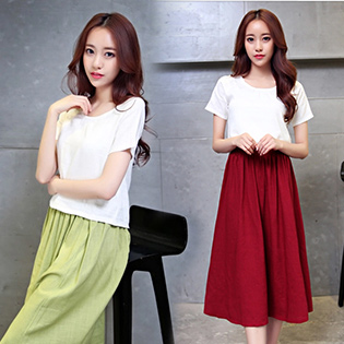 Set Chân Váy Linen + Áo Dạo Phố