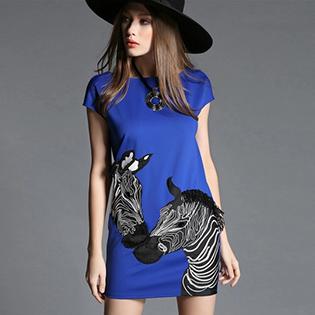 Đầm Cát Len Hoạ Tiết Ngựa Vằn