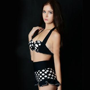 Bikini 2 Mảnh Đen Chấm Bi Nâng Đẩy Ngực