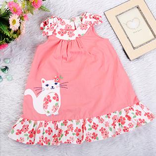 Đầm Baby Hình Mèo Phối Hoa Xinh Xắn Cho Bé