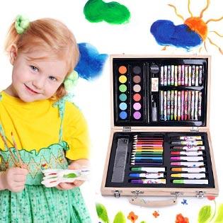 Hộp Bút Chì Màu Gỗ Vẽ Sáng Tạo 68 Món Cho Bé + 10 Tờ Giấy Tô Màu