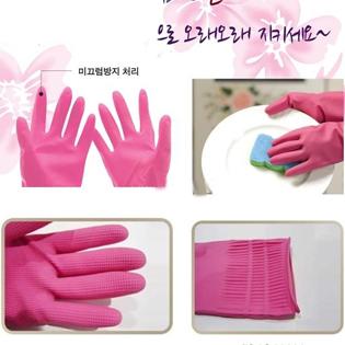 Set 2 Đôi Găng Tay Cao Su Rửa Bát Và 3 Miếng Rửa Bát, Cọ Nồi Hàn Quốc