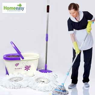 Bộ Lau Nhà Fashion Mop 360 Độ Homeeasy 2 Bông Lau - BH 12 Tháng
