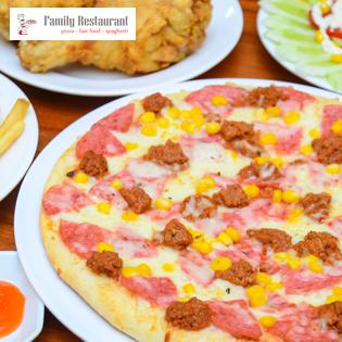 Set Pizza + Gà Rán/Sườn Nướng + Salat Cho 02N Tại Pizza Family