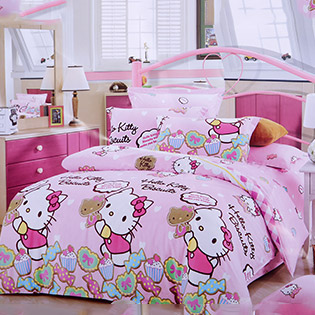 Bộ Drap Hello Kitty Kèm Mền 100% Cotton