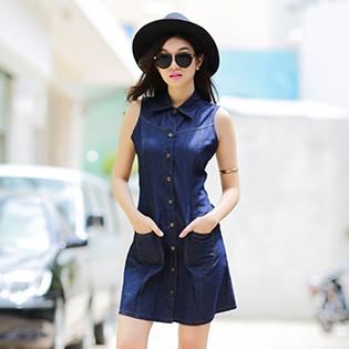 Đầm Jean Sơ Mi Thời Trang