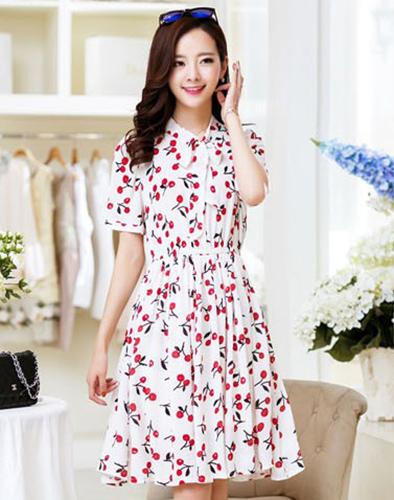Đầm Cherry Nơ Cổ
