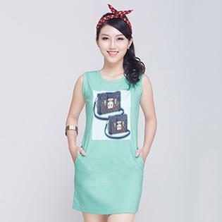 Đầm Thun In Hình Fashion